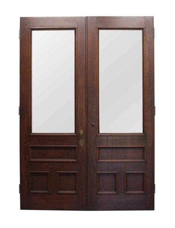 Entry Doors - American Chestnut Double Brownstone Doors 100.75 x 69.875
