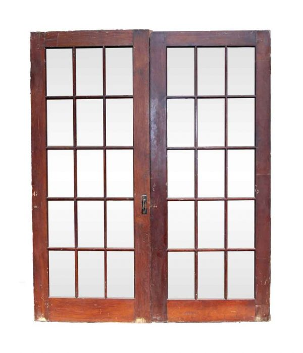 French Doors - 15 Glass Panel Antique French Double Doors 77.625 x 63.375