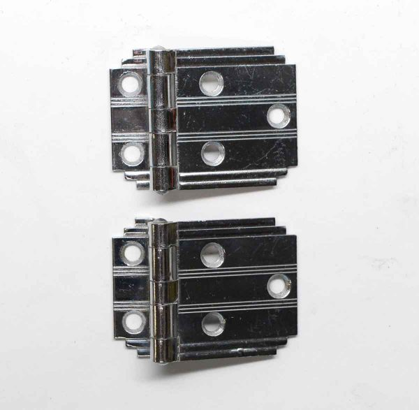Ice Box Hardware - Pair of Nickel Plated Deco Cabinet Hinges