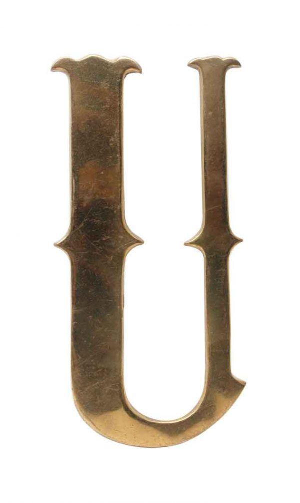 Other Hardware - Small 7.75 in. Solid Brass Letter U