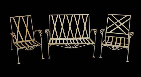 Patio Furniture - Vintage Metal Patio Furniture Set with Foliage Details