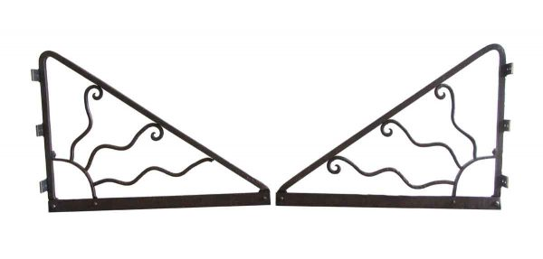Shelf & Sign Brackets - Pair of Cast Iron Sunburst Brackets