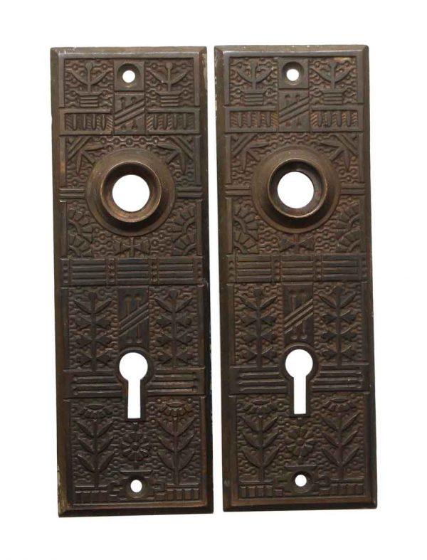 Back Plates - Antique 5.5 in. Bronze Aesthetic Passage Door Back Plates