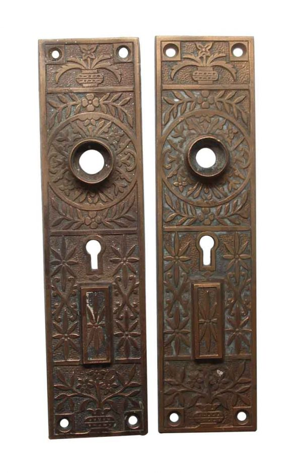 Back Plates - Antique 8 in. Aesthetic Bronze Entry Door Back Plates