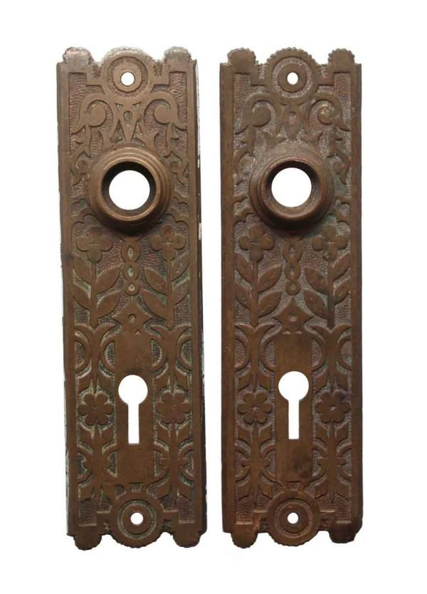Back Plates - Pair of 6 in. Floral Brass Passage Door Back Plates