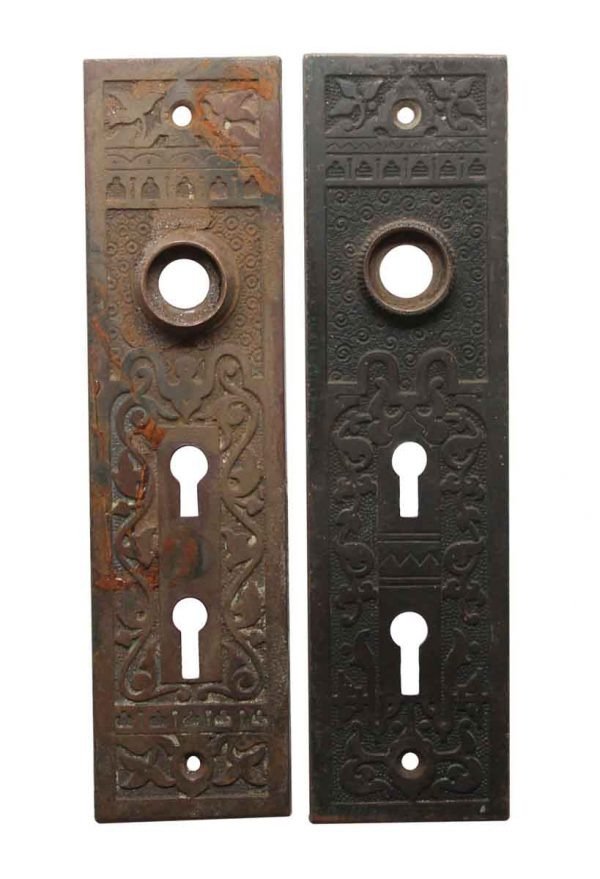Back Plates - Pair of Aesthetic Bronze 7.125 in. Entry Door Back Plates