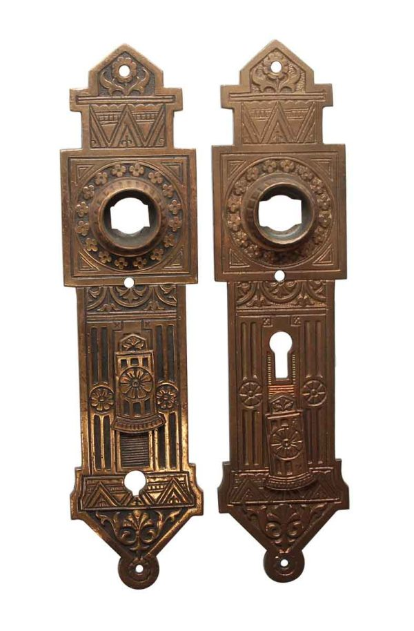 Back Plates - Pair of Brass Eastlake 8 in. Entry Door Back Plates