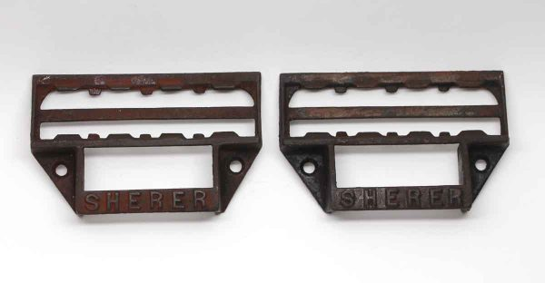 Cabinet & Furniture Pulls - Pair of Antique Cast Iron Sherer Drawer Bin Pulls
