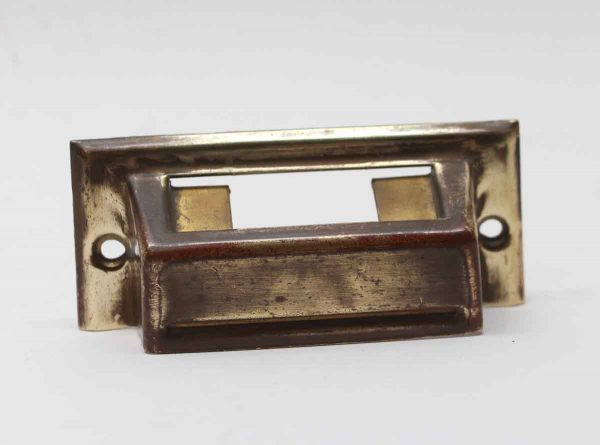 Cabinet & Furniture Pulls - Vintage Brass Bin Pull with Label Slot