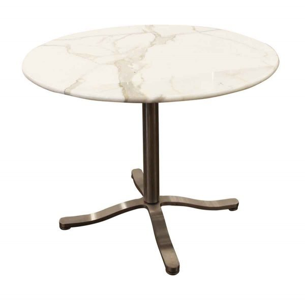 Commercial Furniture - Round Marble Top Herman Miller Chrome Base Table
