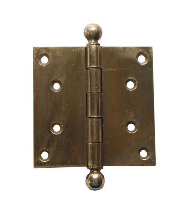 Door Hinges - Vintage 3.5 x 3.5 Brass Ball Tip Butt Door Hinge