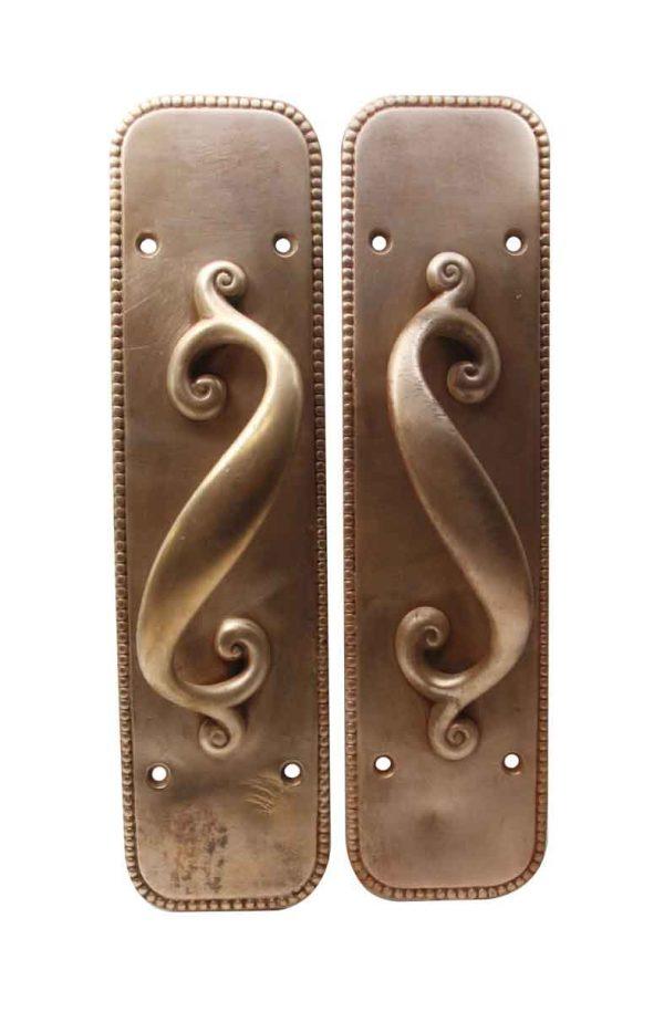Door Pulls - Antique Bronze Pair of S Shaped Handle Door Pulls