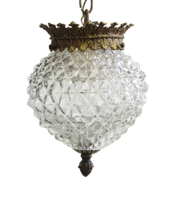 Globes - 1960s Textured Glass Pendant Light