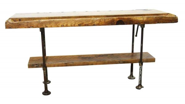 Industrial - Antique Butcher Block Work Tool Bench with Pipe Legs