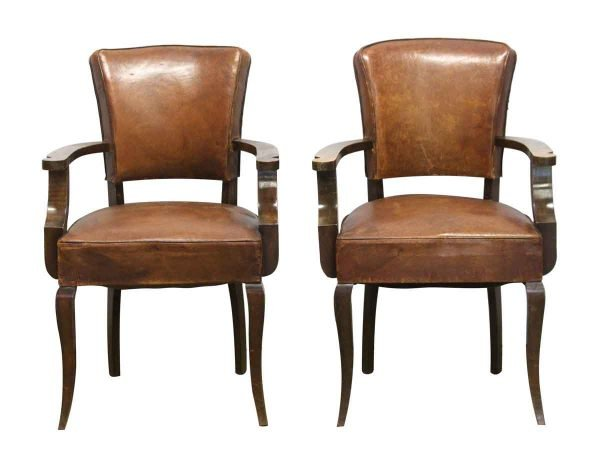 Living Room - Pair of Leather & Wood Bridge Chairs