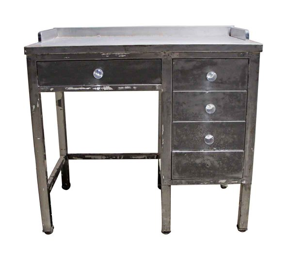 Office Furniture - Vintage Industrial Metal Desk with Glass Knobs