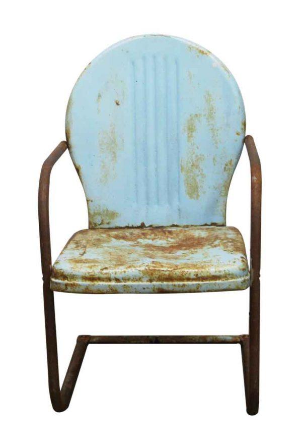 Patio Furniture - Vintage Blue Metal Garden Chair