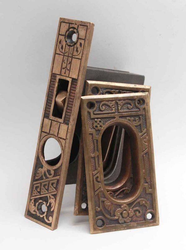 Pocket Door Hardware - Antique Aesthetic Brass Pocket Door Lock Set