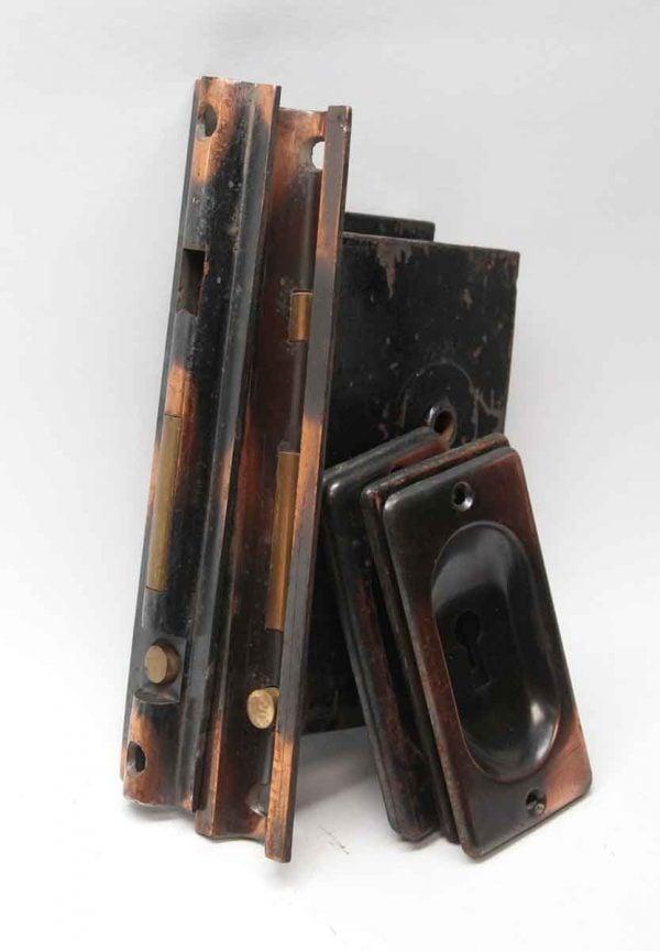 Pocket Door Hardware - Antique Japanned Finish Double Pocket Door Set