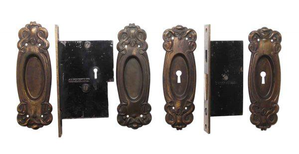 Pocket Door Hardware - Art Nouveau Double Door Steel & Cast Iron Pocket Door Lock Set