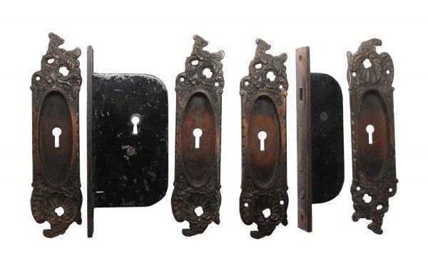 Pocket Door Hardware - Rococo Reading Cast Iron Double Door Pocket Door Lock Set