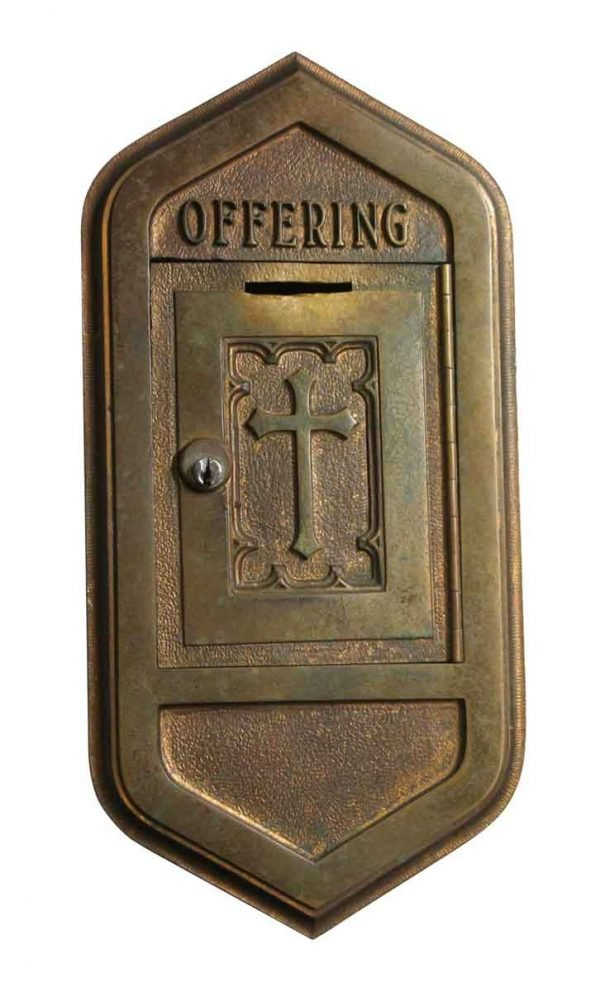 Religious Antiques - Wall Flush Mount Bronze Church Offering Box