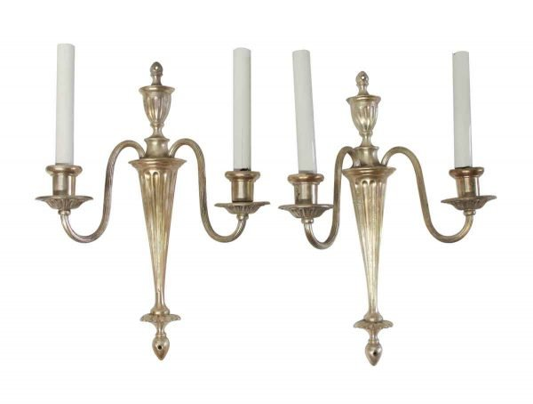 Sconces & Wall Lighting - Pair of Silver Over Brass Federal Two Arm Sconces