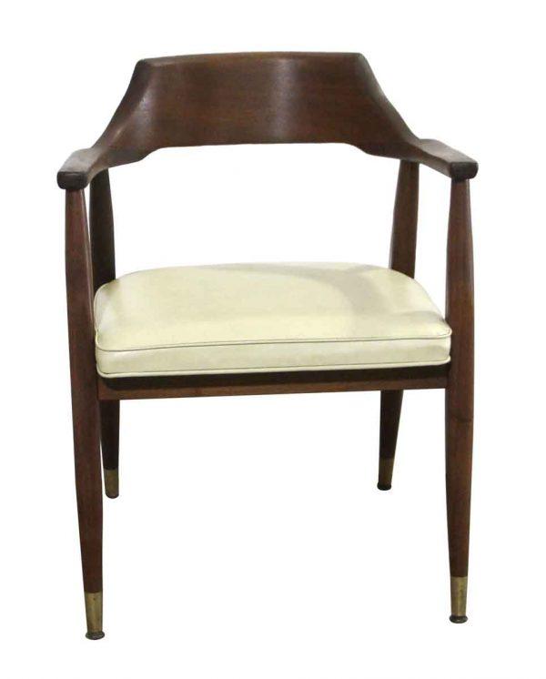 Seating - Mid Century Cream Vinyl & Walnut Arm Chair