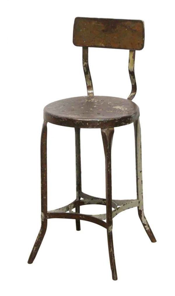 Seating - Steel Industrial Counter Height Stool with Back