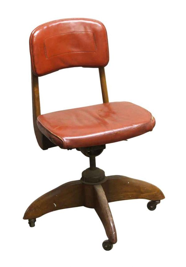Seating - Walnut Frame Secretary Rolling Chair with Red Vinyl