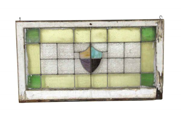 Stained Glass - Antique Arts & Crafts Stained Glass Wood Framed Window