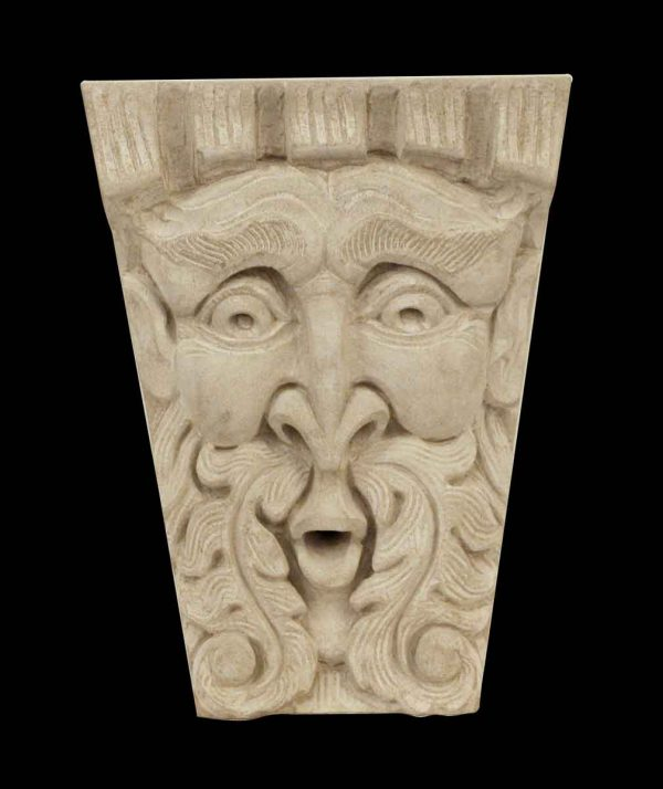 Stone & Terra Cotta - Hand Carved Limestone North Wind Face Replica Frieze