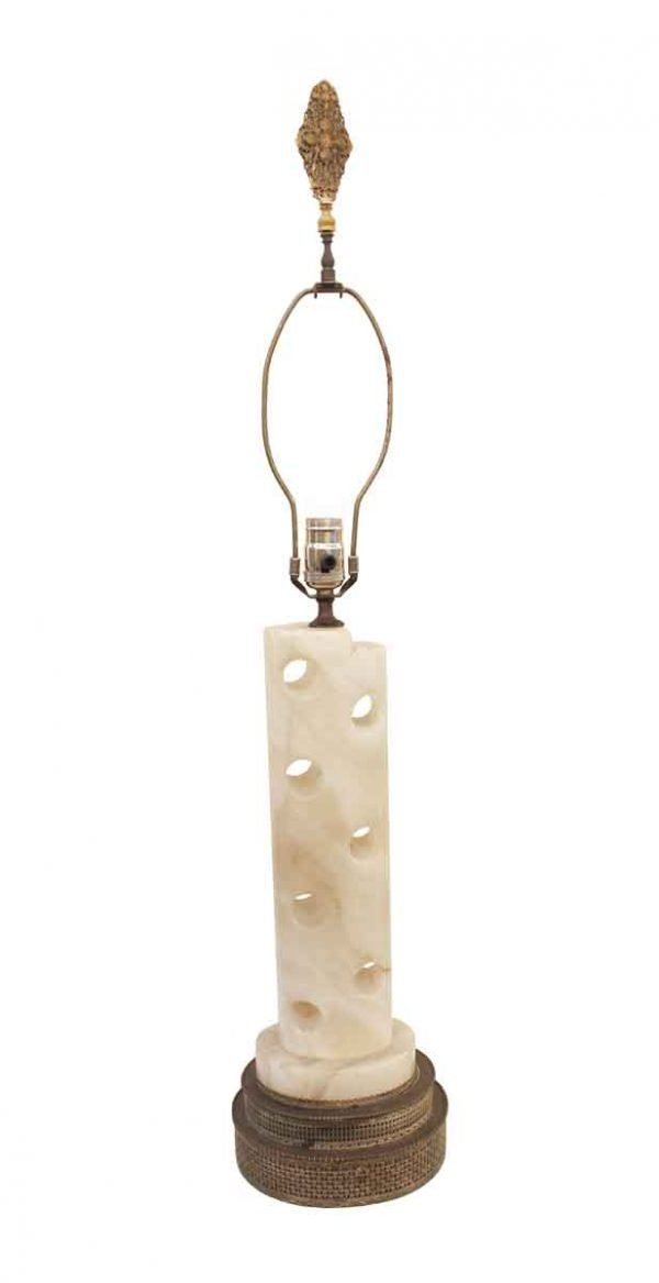 Table Lamps - Alabaster Table Lamp with Cut Out Holes