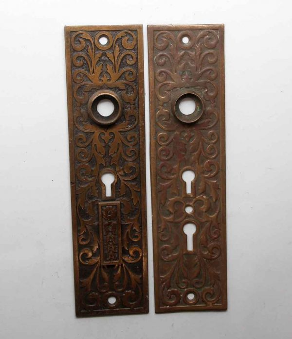 Back Plates - Pair of Victorian 7.5 in. Brass Door Back Plates