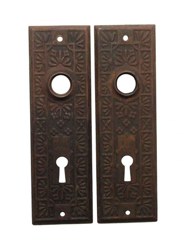 Back Plates - Victorian Steel 5.75 in. Pair of Keyhole Door Back Plates
