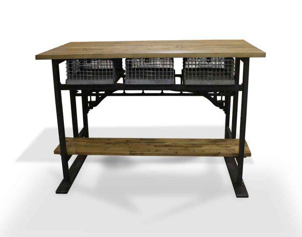 Bars & Islands - Industrial Flooring Kitchen Island with 2 Swing Seats