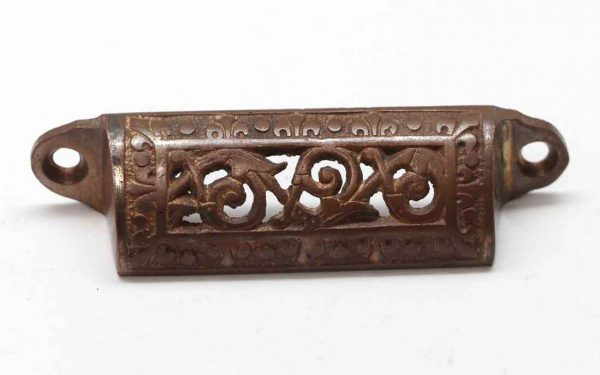 Cabinet & Furniture Pulls - Antique 3.25 in. Cut Out Bronze Drawer Bin Pull