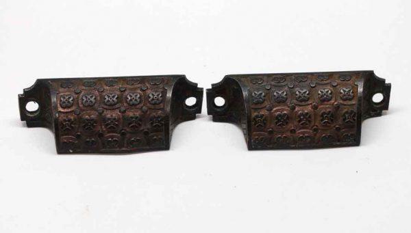 Cabinet & Furniture Pulls - Antique Pair of Aesthetic Field Pattern Bronze Drawer Bin Pulls