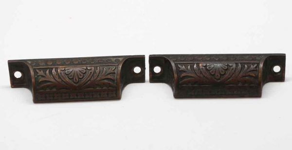 Cabinet & Furniture Pulls - Antique Pair of Bronze Drawer Bin Pulls