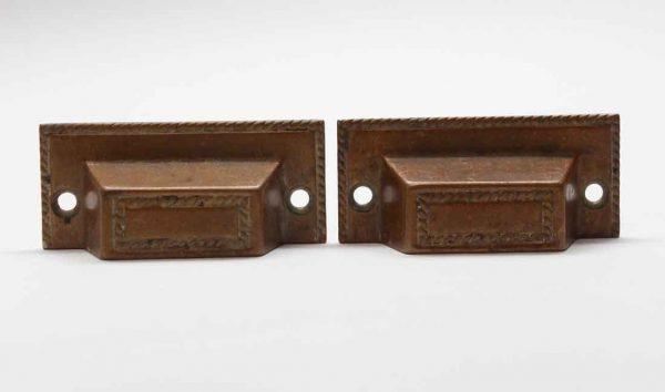 Cabinet & Furniture Pulls - Pair of Antique Brass Braided Drawer Bin Pulls