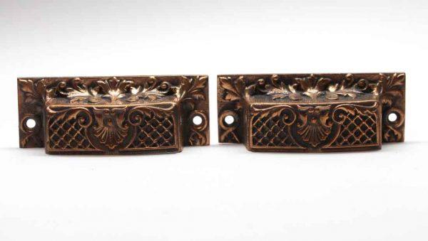 Cabinet & Furniture Pulls - Pair of Antique French Bronze Drawer Bin Pulls
