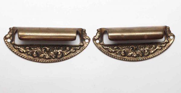 Cabinet & Furniture Pulls - Pair of Antique Victorian Beaded Brass Drawer Bin Pulls