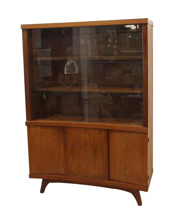 Cabinets - Vintage Mid Century Glass & Walnut Cabinet