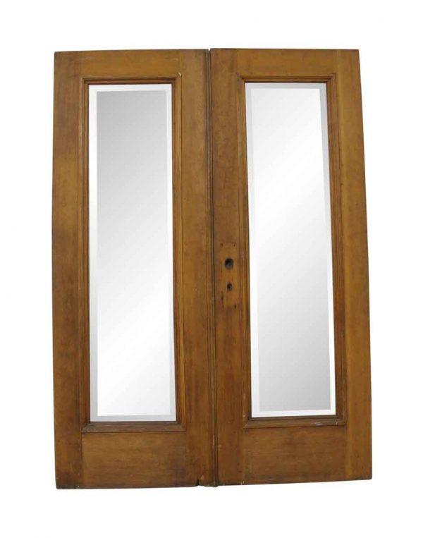 Commercial Doors - Antique Beveled 1 Lite Swinging Double Doors 83.75 x 59.625