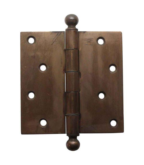 Door Hinges - 4.5 x 4.5 Stanley Ball Tip Brass Plated Steel Butt Door Hinge