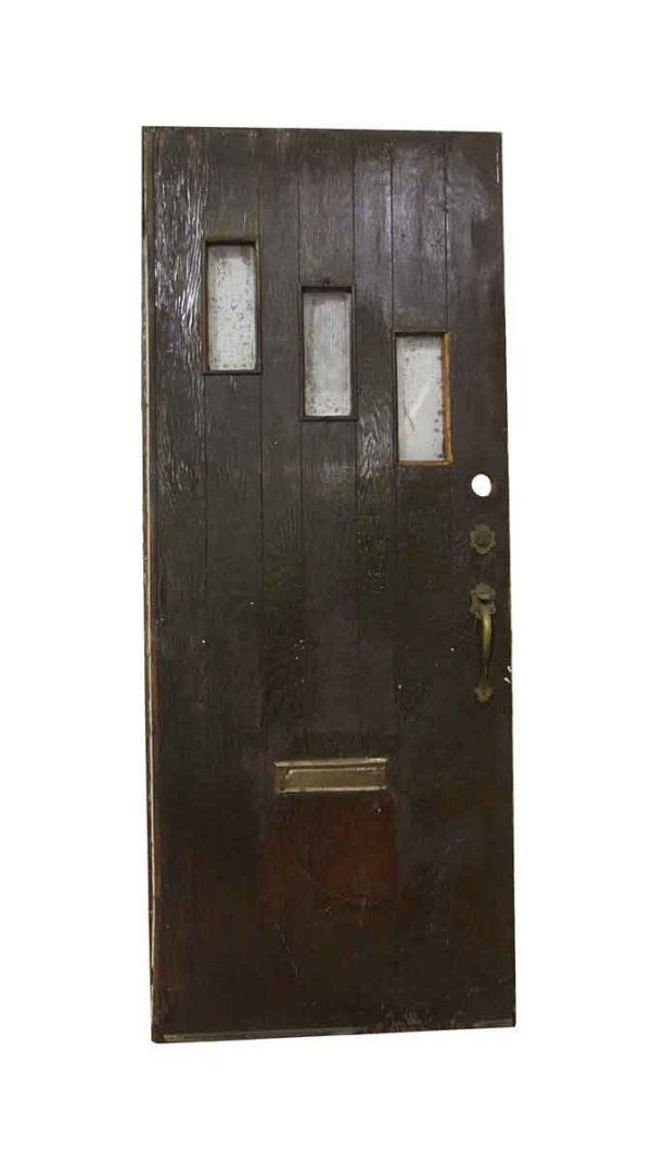 Entry Doors - Antique 3 Lite Pine Entry Door 80 x 32