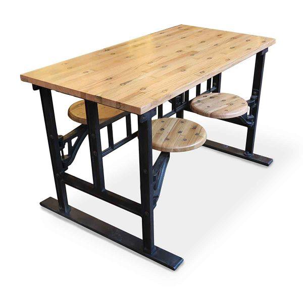 Farm Tables - Custom Industrial Oak Flooring 4 Seat Swing Table