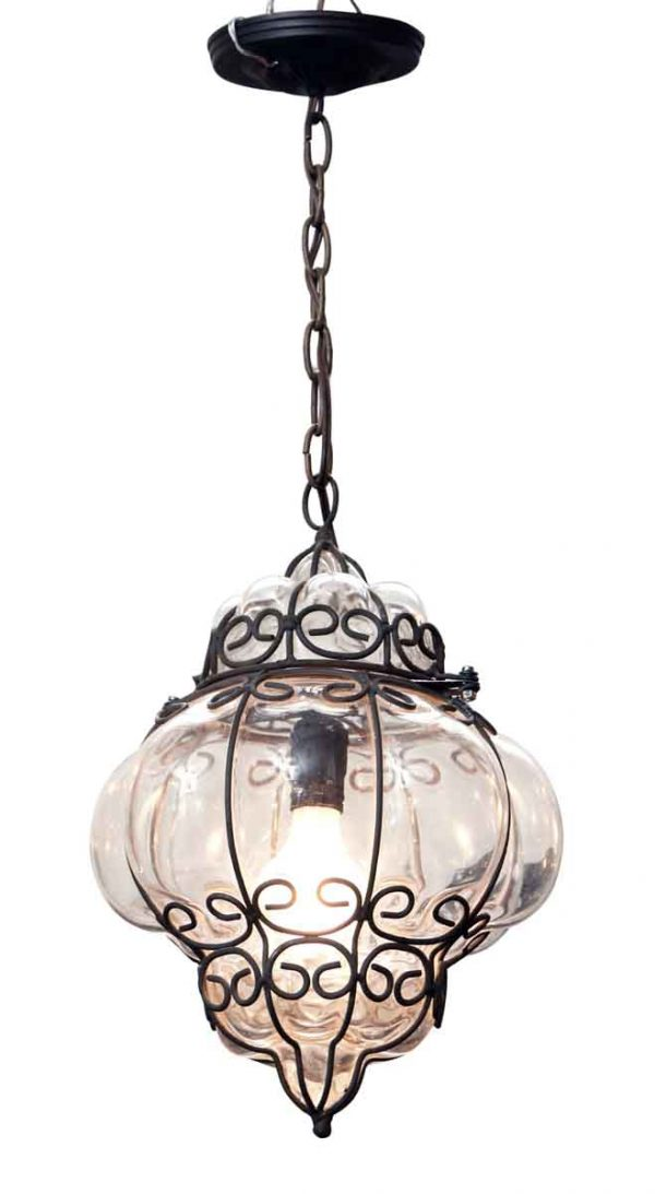Globes - 11 in. Black Metal Caged Blown Glass Pendant Light