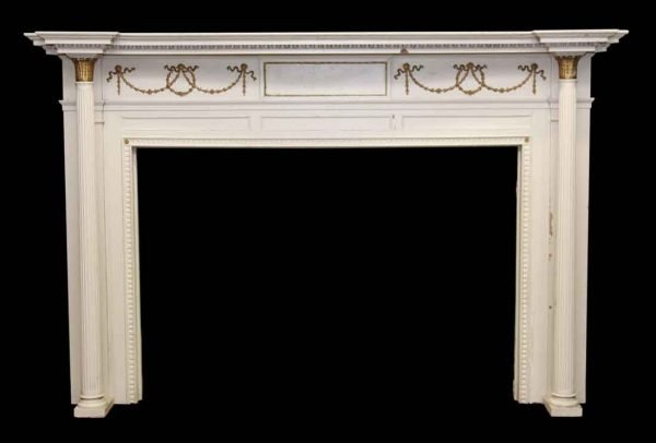 Mantels - White & Gold Wood Federal Style Salvaged Mantel