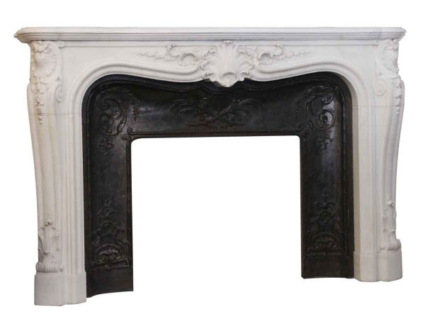 Marble Mantel - French Carved Marble Mantel with Cast Iron Insert